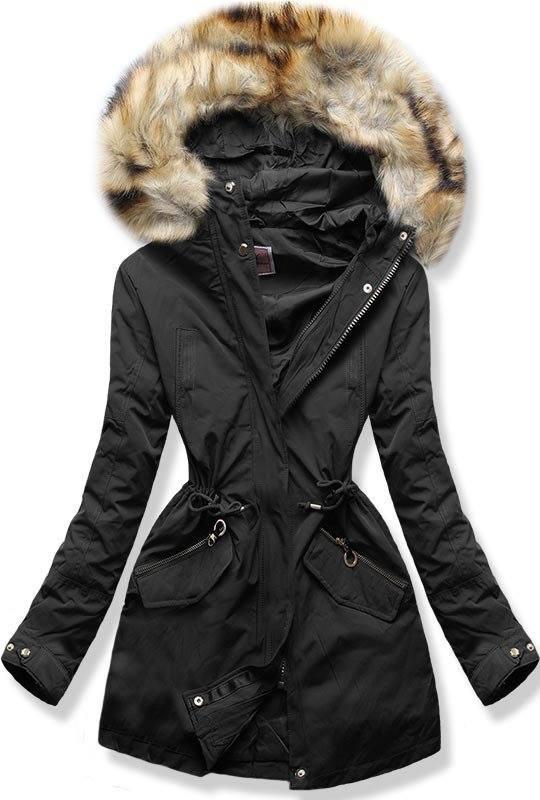 dcc8c32bf4 38558 Fekete színű téli kabát plüss béléssel kényelmes meleg kabát ...